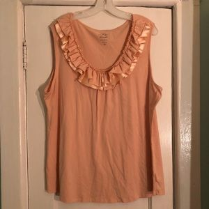 Cream/pink Tank with Embellished Neck